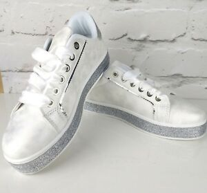 womens white sparkly trainers