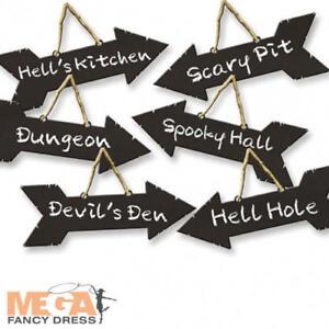 X6 Spooky Halloween Party Direction Signes Trick Ou Traiter Suspendu Décorations-afficher Le Titre D'origine La DernièRe Mode