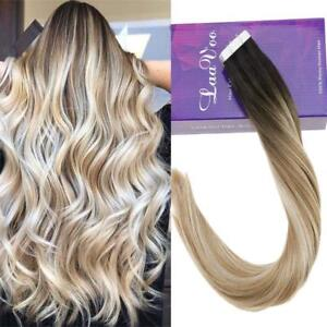 Details About Black Root Blonde Balayage Skin Weft Tape In Human Hair Extensions 50g 1bt10 60