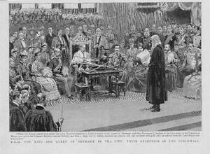 1893-Antique-Print-LONDON-Guildhall-Reception-HRH-King-Queen-Denmark-20