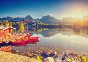 A1-Lake-amp-Mountains-Poster-Art-Print-60-x-90cm-180gsm-High-Tatras-Gift-13009