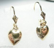 10Kt Pure Solid Yellow Gold Lever back Dangling Heart Earrings..100% Guaranteed!