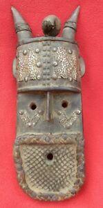 Vintage-Namji-Tribe-Horned-Fetish-Mask-With-Amulet-amp-Metal-Plating-Cameroon