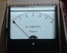 SIMPSON PANEL METER MODEL 1327, CAT. NO. 2720, 0-30 DC AMPS, WIDE VU, 3 1/2""