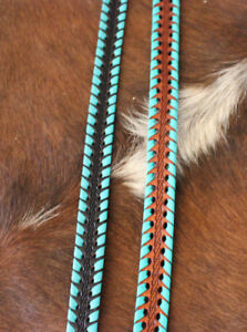 Western-Leather-Tooled-Hatband-Rodeo-Cowboy-Fashion-Tie-Horse-Show-Jean-Wrapped