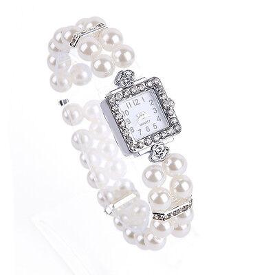 Two Rows Pearl Beads Rhinestone Bracelet Wrist Watch Elastic Lady Fashion