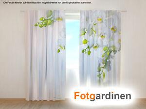 fotogardine orchidee gardine mit motiv digitaldruck vorhang bedruckt auf ma ebay. Black Bedroom Furniture Sets. Home Design Ideas