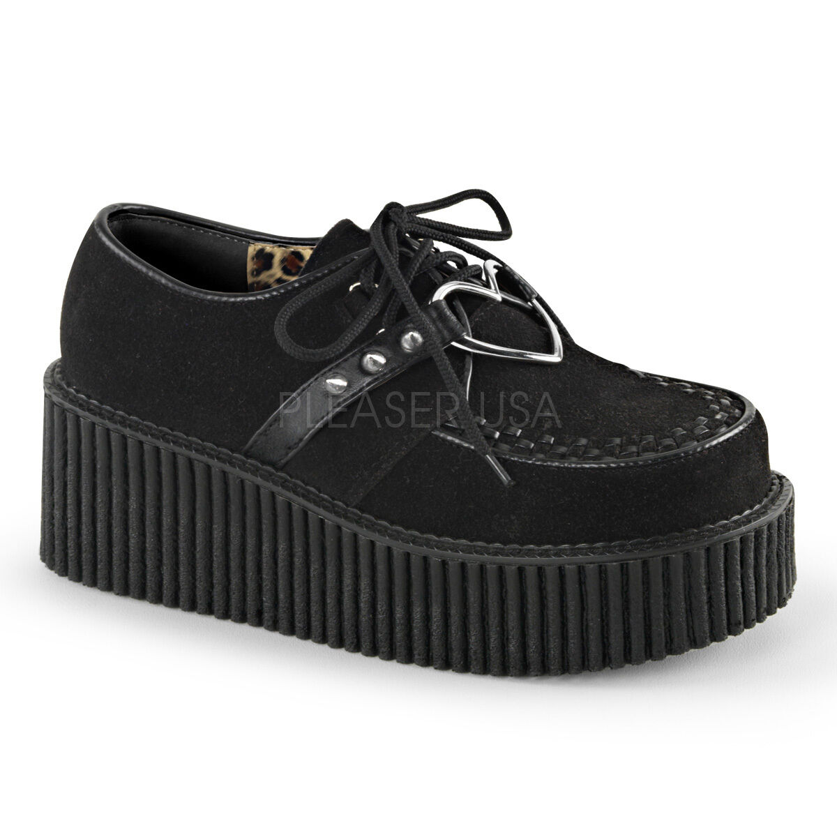 DEMONIA CREEPER-206 Women's Vegan Gothic Heart O-Ring Platform Creepers shoes