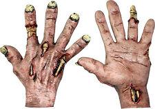 HALLOWEEN ADULT ZOMBIE FLESH LATEX  HANDS GLOVES MASK PROP HORROR