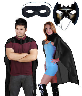 Adult Mens Batman Cape with Mask Fancy Dress Superhero Accessory Set