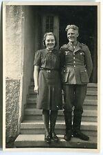 ORIG. foto Düsseldorf WK II soldado con la Sra./Otto u. Hilde en escalera 1942