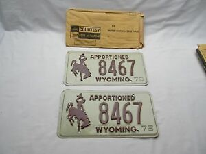 2 Vintage American Americana Wyoming horse cowboy car number plates 8467 1978 - Northampton, United Kingdom - Refund of the bid price will be given if the item is returned to me within 14 days of receipt and is unused, and received by me in the same condition in which I sent it. Buyer pays for the postage both ways. Most purchases fr - Northampton, United Kingdom