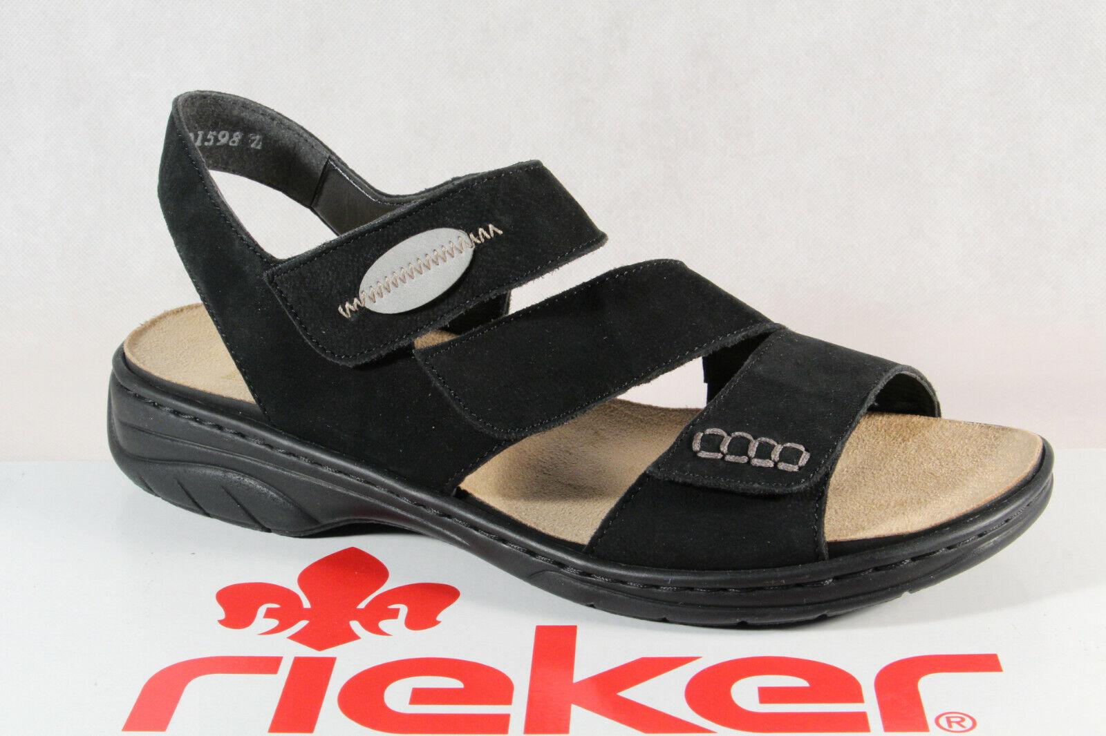Rieker Damen Sandalen Sandaletten Sandale schwarz Echteder 64573 NEU
