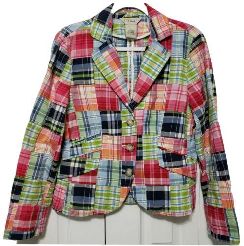 LL Bean Women's 10 Petite Madras Plaid Blazer Jack
