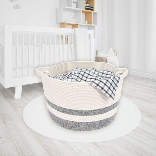 "GEX Extra Large Laundry Basket 25/"" x 22/"" x 14/"" Cotton Rope Basket Woven Storage"