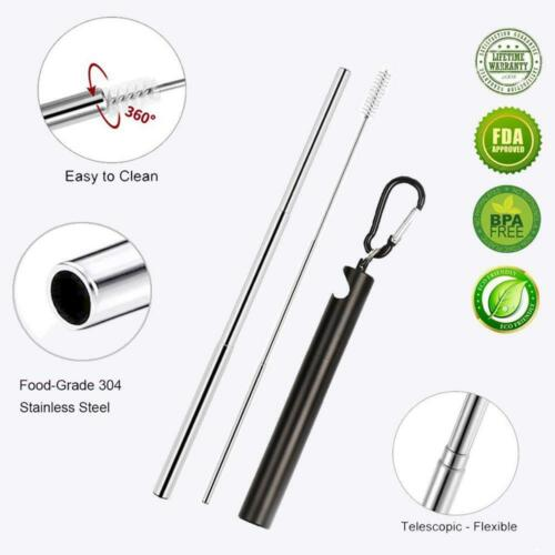 Collapsible Reusable Straw Portable Stainless Steel Telescopic Drinking w//Brush