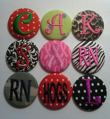 5 Monogrammed Badge Reel - Id Holder Personalized Clip on