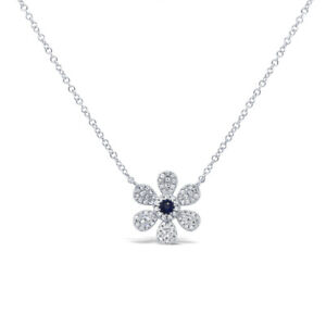 14K White Gold Natural Diamond Blue Sapphire Daisy Flower Pendant Necklace