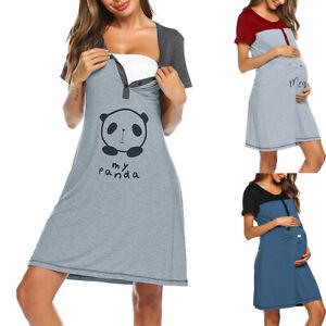Women-Maternity-Short-Sleeve-Cute-Print-Nursing-Nightdress-Breastfeeding-Dress