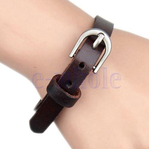 Unique Artificial Leather Wristband Buckle Belt Bracelet Cuff Unisex Brown GW