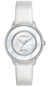 Citizen Eco-Drive Women's Circle of Time White Band 30mm Watch EM0381-03D