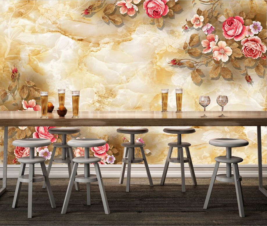 3D Marble And Flowers 1860 Paper Wall Print Wall Decal Wall Deco Indoor Murals