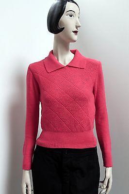 Maglione Pullover Lavorato A Maglia Con Collo Rosa True Vintage 70er Nos Mai Indossato Scatola Originale-mostra Il Titolo Originale