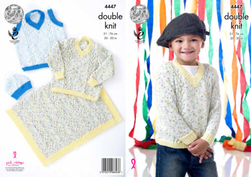 Slipover and Blanket in Smarty DK King Cole 4447 Knitting Pattern Boys Sweater