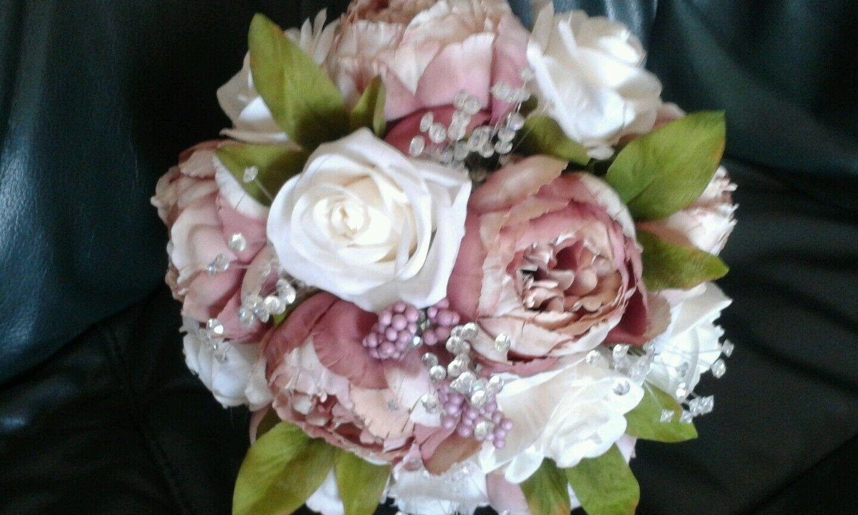 Rose poudré & Ivory Bridal BOUQUET PIVOINES & ROSES