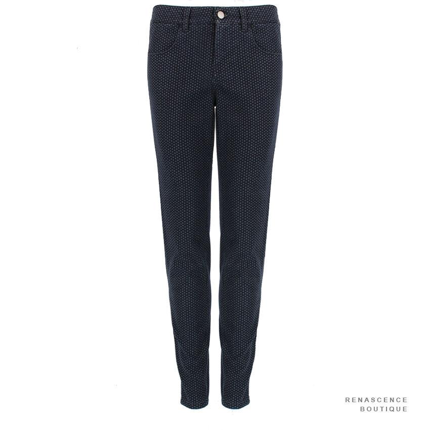 Stella McCartney Indigo bluee Grey Tone Dot Pattern Slim-Fit Zipped Hem Jeans W29