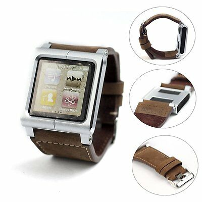 Leather Multi-Touch Wrist Strap Watch Band For iPod Nano 6th 6g 6 Generation
