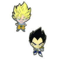 Dragon Ball Z Super Saiyan Goku & Vegeta 2-pack Metal Enamel Pin Set Licensed