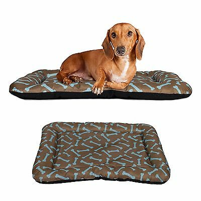 Dog Bed Pet Kennel Cushion Mat Crate Cage Pad Waterproof, Brown and Blue Bone