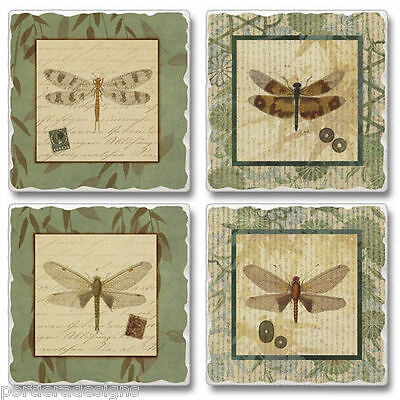 Mixed Absorbent Stone Coasters Set 4 Dragonfly Willow