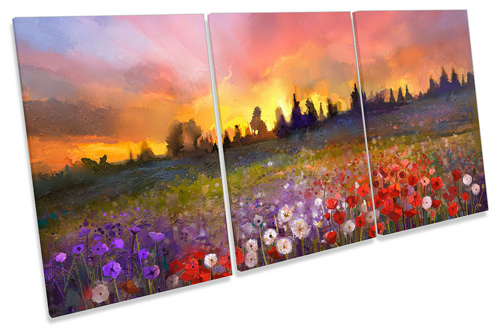 Floral Landscape Sunset Repro CANVAS Wand KunstWORK TREBLE Drucken Kunst