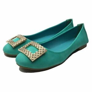 Ballet-Flats-Women-039-s-Shoes-Low-Green-Faux-Comfortable-Elegant-Buckle-Rhinestone