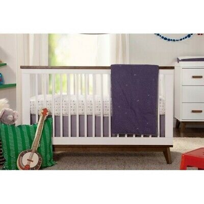 Babyletto Scoot 3-in-1 Convertible Crib with Conversion Kit in White and Walnut