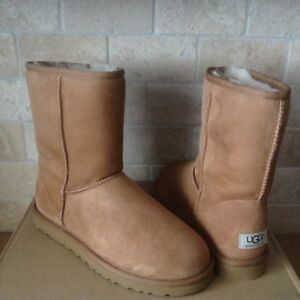 Image is loading UGG-Classic-Short-Chestnut-Suede-Sheepskin-Boots-Size-