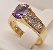 STUNNING 18K YELLOW GOLD OVAL AMETHYST & 1/2 cttw PRINCESS CUT DIAMOND RING BAND
