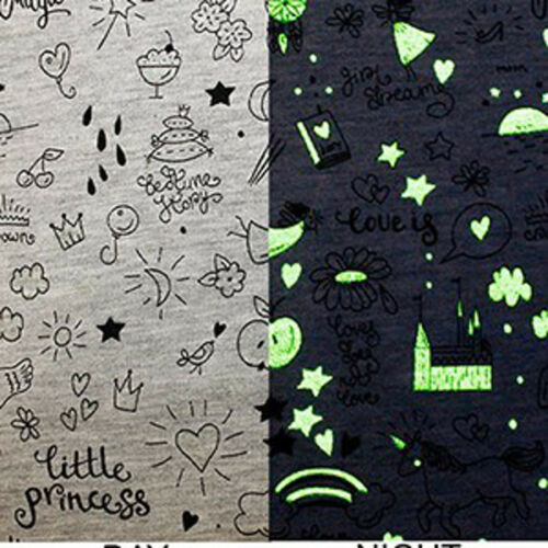 Cotton Polyester Jersey Stretch Fabric Glow In The Dark Space Stars Dragons