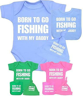 Born To Go Fishing With Dad Babygrow Vest Baby Clothing Funny Gift