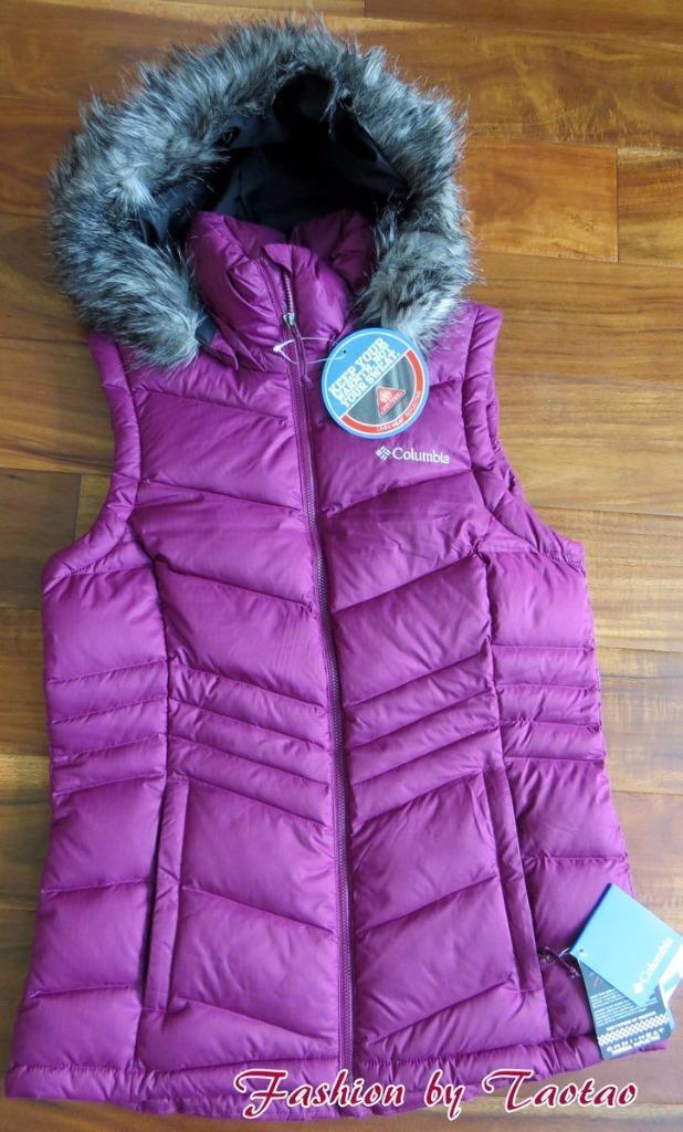 New w Tag Columbia OMNI-HEAT Polar Freeze Womens 80% 80% 80% 650 Hooded Down Vest Sz S 45555b