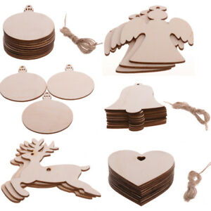 Christmas-Gifts-Blank-Wooden-Shapes-Craft-Heart-Tree-Decorations-Ornaments-X10