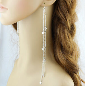 very long 20cm drop earrings tassel silver dangle star