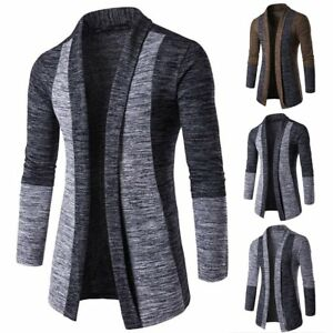 Men-039-s-Casual-Sweater-Slim-Fit-Long-Sleeve-Knitted-Cardigan-Trench-Coat-Jacket