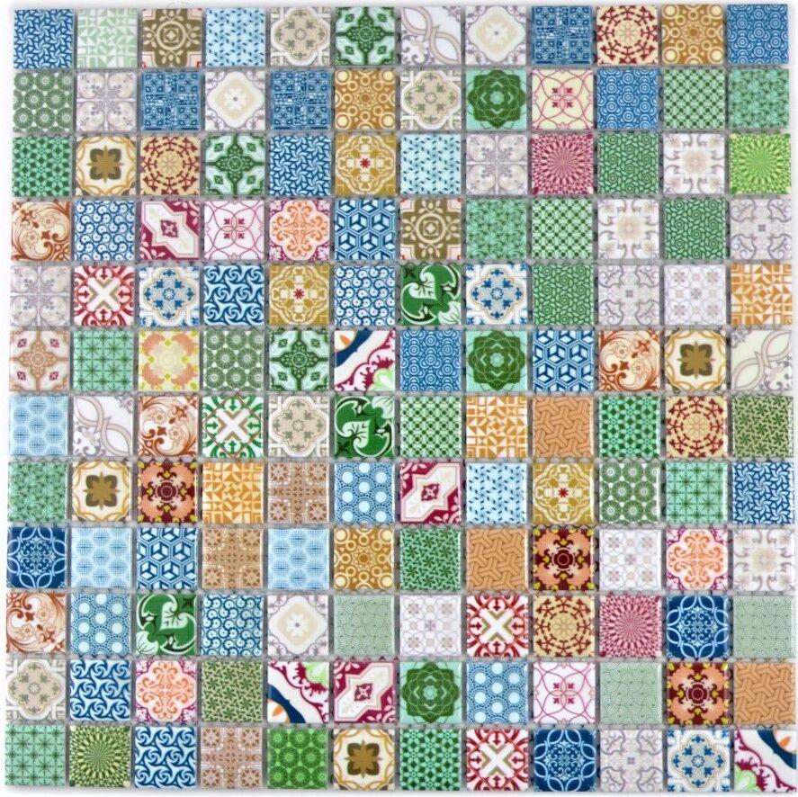 Keramik Mosaik bunt retro Fliesenspiegel Küche Dusche Bad WC 18D-1616 10Matten