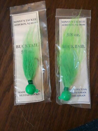 Ball Jig Bucktail 5//8 Oz. Green..Hand molded//painted /& Tied 5//0 hook 2