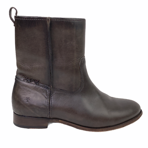 Frye Cara Short Ankle Boot Bootie in Smoke Brown Leather Western Riding Size 9.5