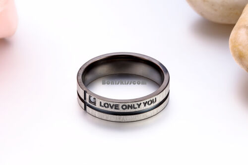 """Black Silver Stainless Steel Cross Grooved /"""" Love Only You /"""" Band Promise Ring"""