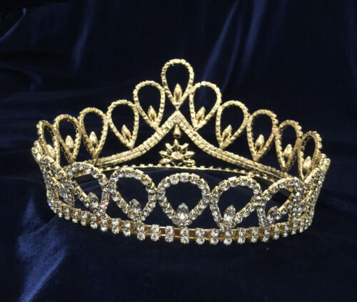 """Crystal Clear Rhinestones w//Gold Plated Round Crown.Height 3.75/"""""""